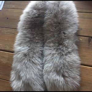 Grey real fox fur for collar or hood edge